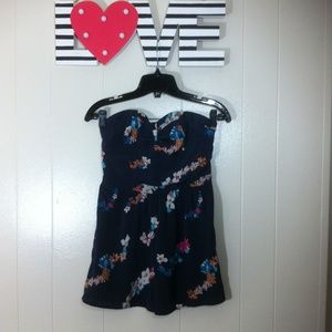 AMERICAN EAGLE OUTFITTERS Strapless Floral Romper